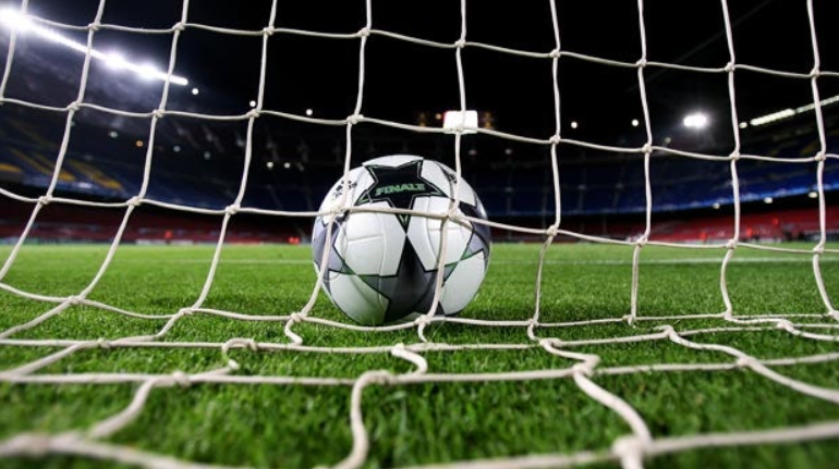 A ball in the football goals
